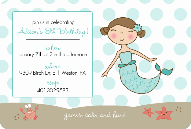 Mermaid Invitation Template Free Fresh Blue Mermaid and Dots Kids Party Invitation Template