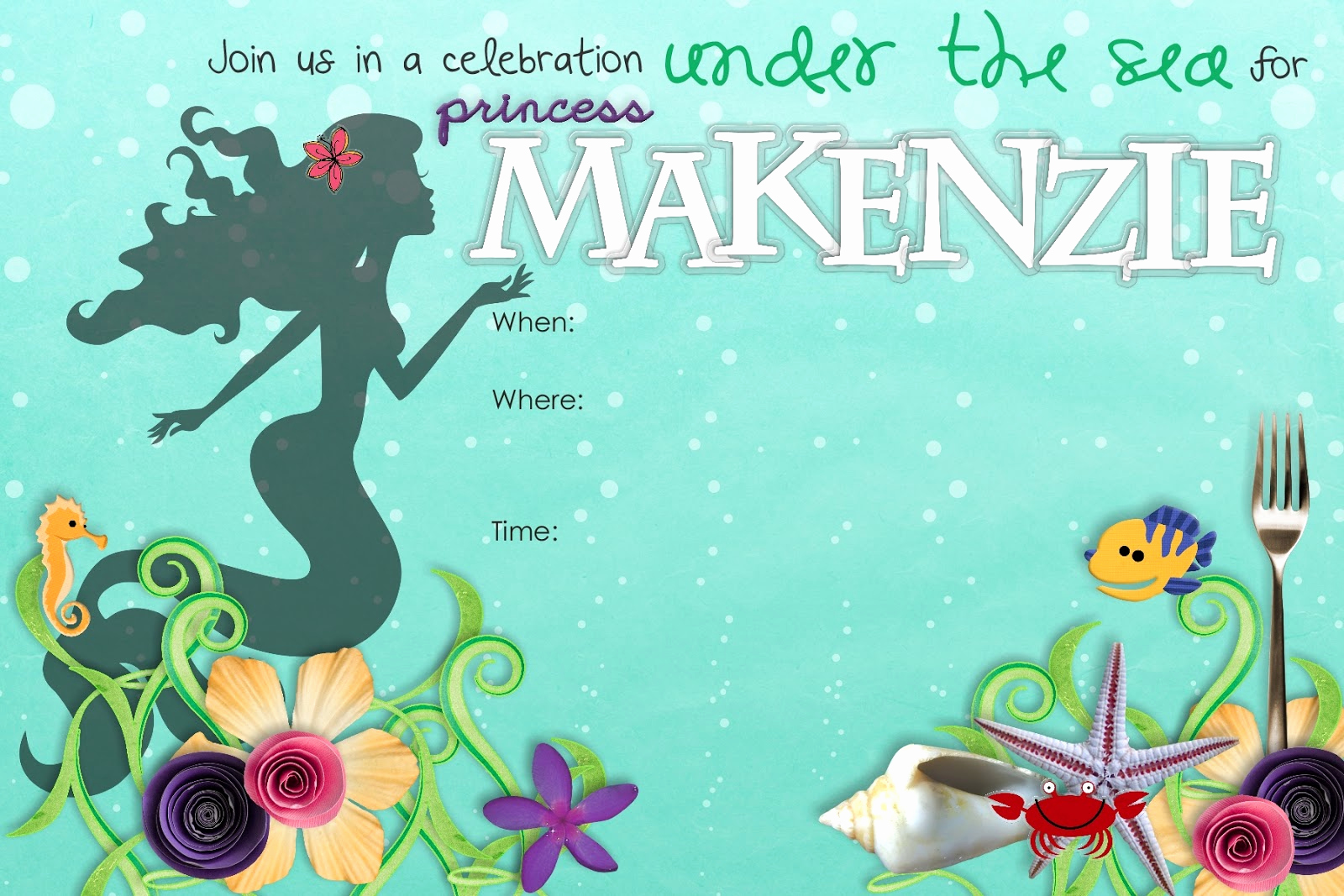 Mermaid Invitation Template Free Fresh Stuff Sisters Make Little Mermaid Birthday Invitation