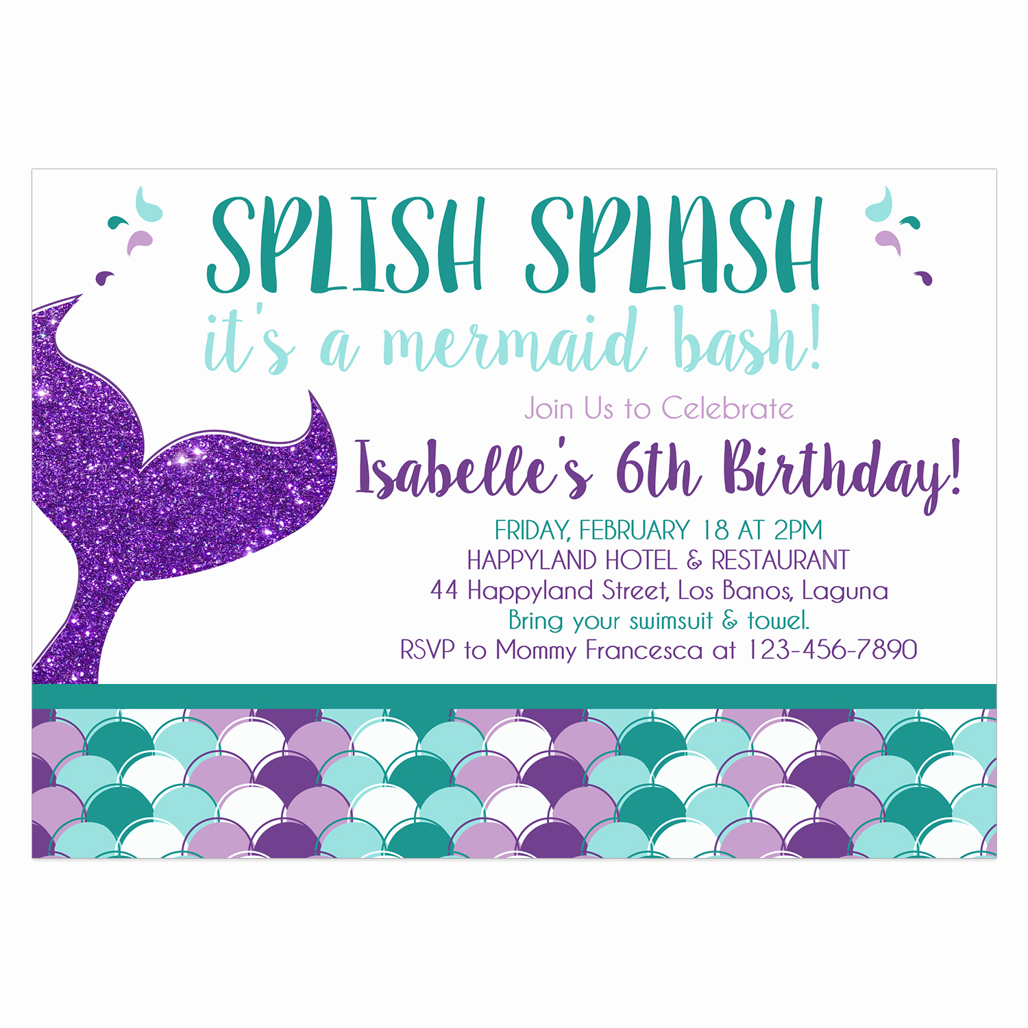 Mermaid Invitation Template Free Inspirational Mermaid Birthday Invitation Diy Printable Template