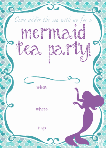 Mermaid Invitation Template Free Inspirational Mermaid Tea Party Birthday