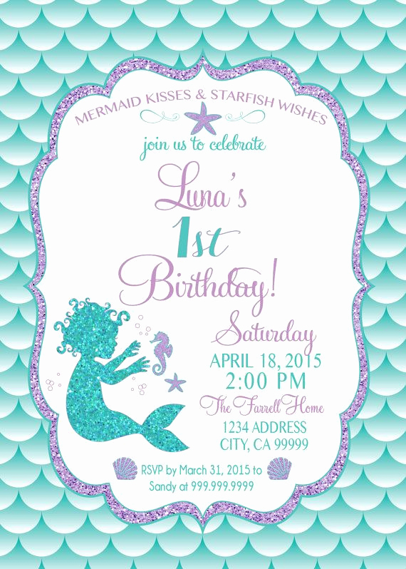 Mermaid Invitation Template Free Lovely Mermaid Birthday Invitation Mermaid Party Invite Under