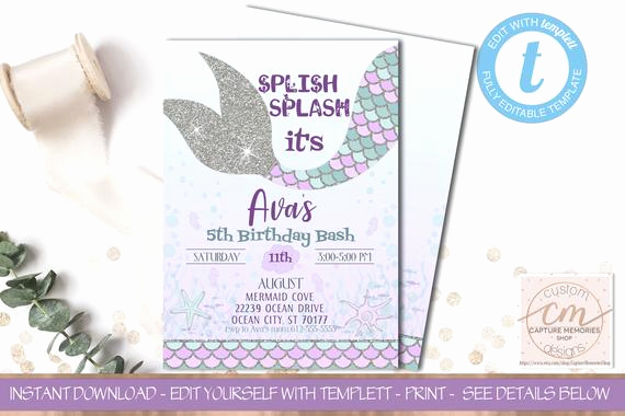 Mermaid Tail Invitation Template Awesome Mermaid Invitation Mermaid Birthday Purple Teal Mermaid