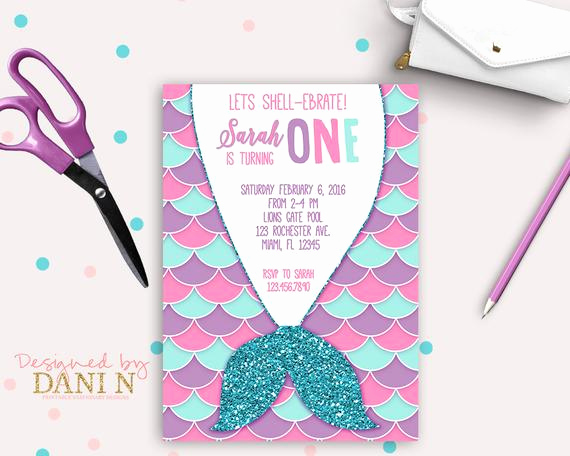 Mermaid Tail Invitation Template Beautiful Mermaid Birthday Party Invitation Pool Party Pink Teal and