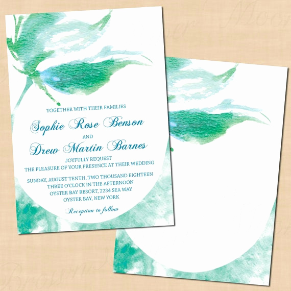 Mermaid Tail Invitation Template Elegant Mermaid Tail Wedding Invitation Template Green Watercolor 5