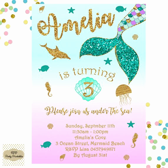 Mermaid Tail Invitation Template Fresh 17 Best Ideas About Mermaid Birthday Invites On Pinterest