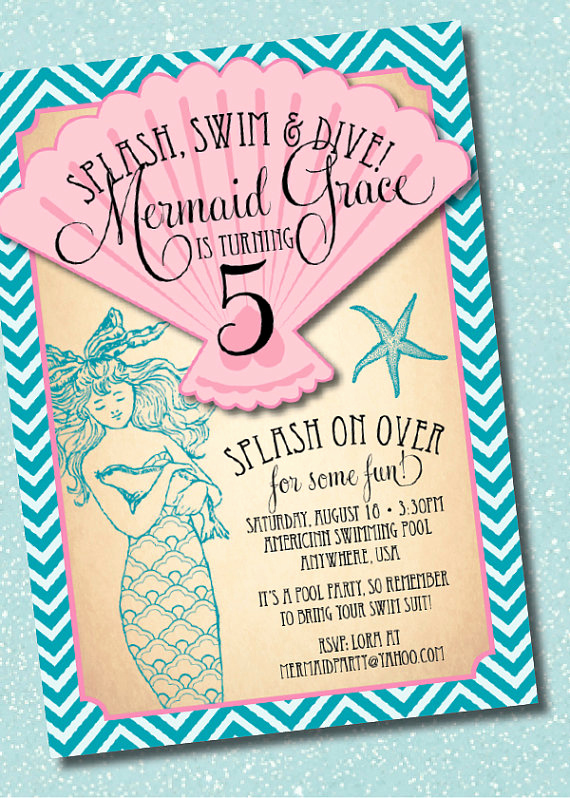 Mermaid Tail Invitation Template Fresh Diy Printable Vintage Mermaid Birthday Party Invitation