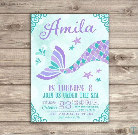 Mermaid Tail Invitation Template Inspirational Mermaid Birthday Invitations Teal Aqua and Purple by