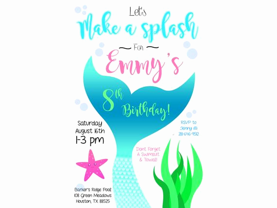 Mermaid Tail Invitation Template Inspirational Mermaid Tail Swim Party Invitation