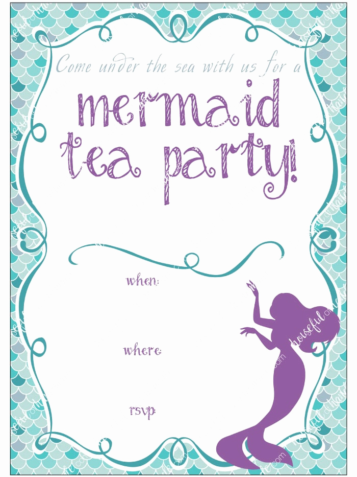 Mermaid Tail Invitation Template Lovely Mermaid Tea Party Printables Houseful Of Handmade