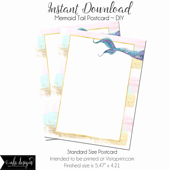 Mermaid Tail Invitation Template New Mermaid Diy Vistaprint Postcard Mermarid Tail Blank
