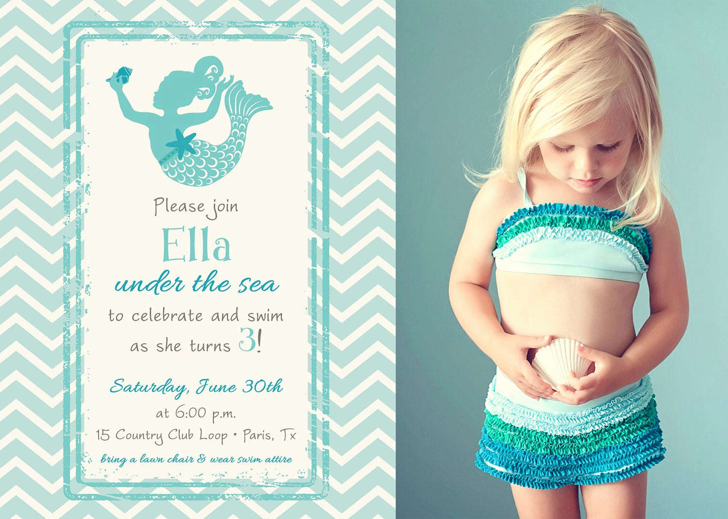 Mermaid Tail Invitation Template Unique Magical Mermaid In Chevron Birthday Invitation