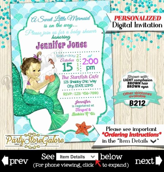 Mermaid Tail Invitation Template Unique Mermaid Baby Shower Invitation Little Mermaid Invitation Under