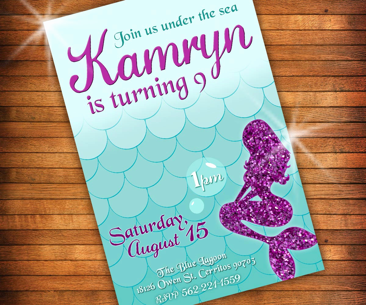 Mermaid Tail Template for Invitation Elegant Mermaid Invitation Mermaid Tail Invitation Glitter by Lilgiggs