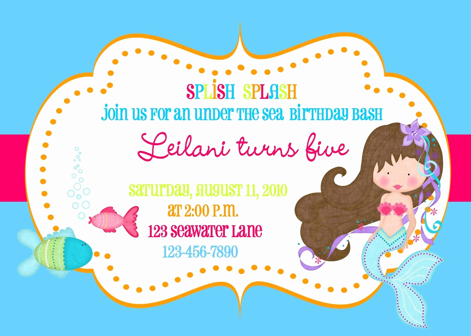 Mermaid Tail Template for Invitation Fresh Free Mermaid Invitation Template