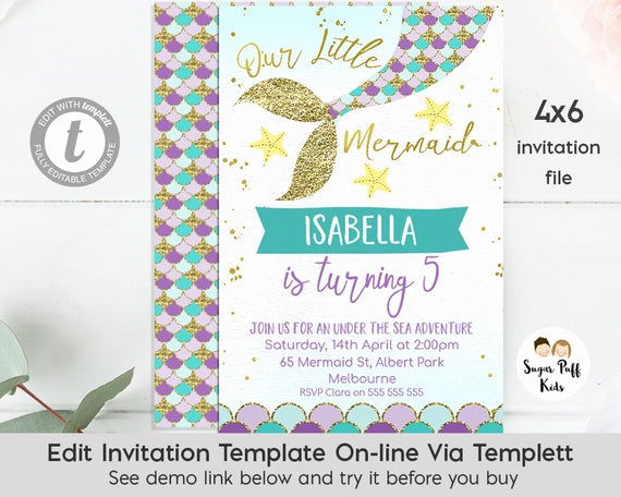 Mermaid Tail Template for Invitation Inspirational Editable 4x6 Mermaid Tail Birthday Invitation Instant