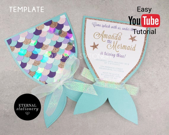 Mermaid Tail Template for Invitation Lovely Editable Mermaid Tail Invitation Ms Word Template Print