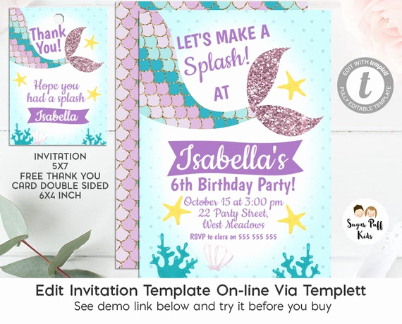Mermaid Tail Template for Invitation Unique Editable Mermaid Tail Birthday Invitation and Favor Tags
