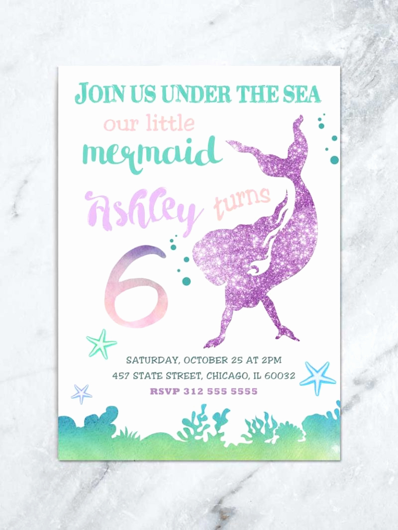 Mermaid Tail Template for Invitation Unique Mermaid Birthday Invitation Under the Sea Invitation
