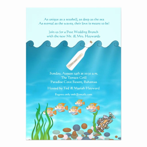 "Message In A Bottle Invitation Luxury Message In A Bottle Post Wedding Brunch Invitation 5"" X 7"