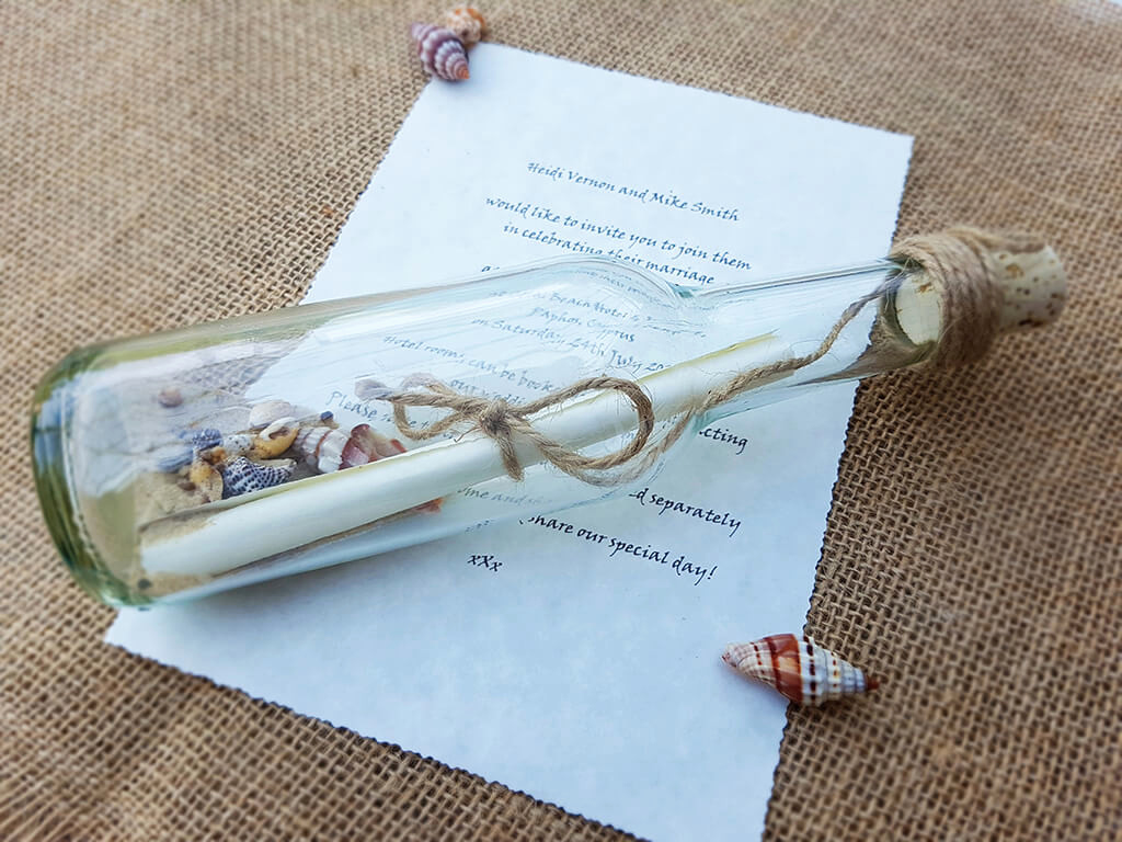 Message In A Bottle Invitation Luxury Message In A Bottle Wedding Invitations