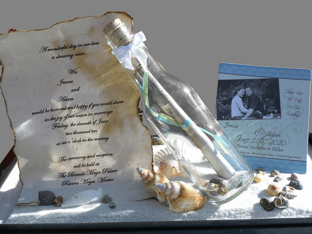 Message In A Bottle Invitation New Message In A Bottle Wedding Invitation