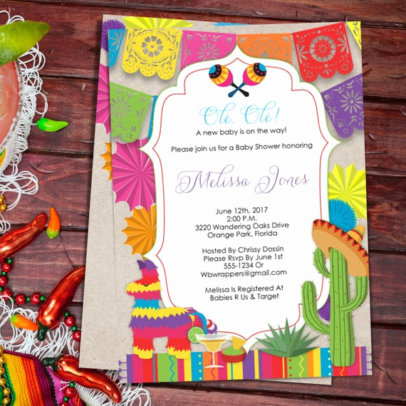 Mexican Fiesta Invitation Templates Free Beautiful Baby Shower Fiesta Mexican themed Baby Shower Invitation