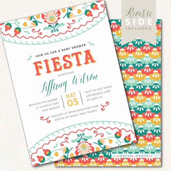 Mexican Fiesta Invitation Templates Free Beautiful Fiesta Baby Shower Invitation Mexican Fiesta Invite