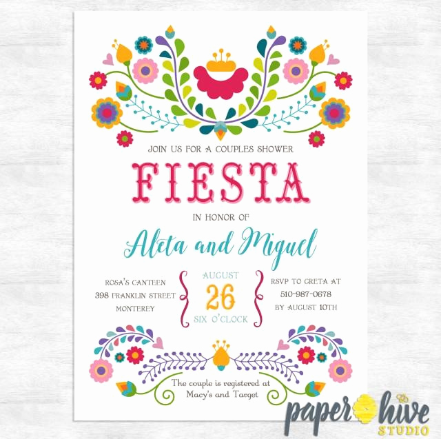 Mexican Fiesta Invitation Templates Free Beautiful Fiesta Invitation Fiesta Couples Shower Invitations