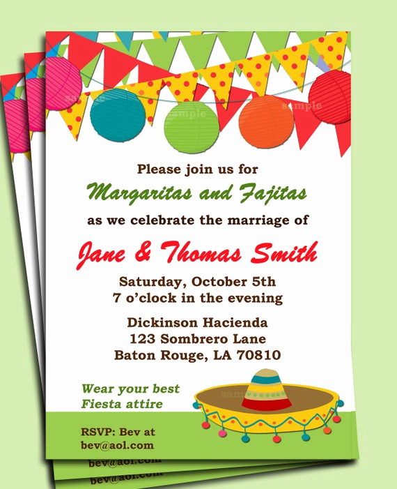 Mexican Fiesta Invitation Templates Free Beautiful Fiesta Party Invitation Printable or Printed with Free