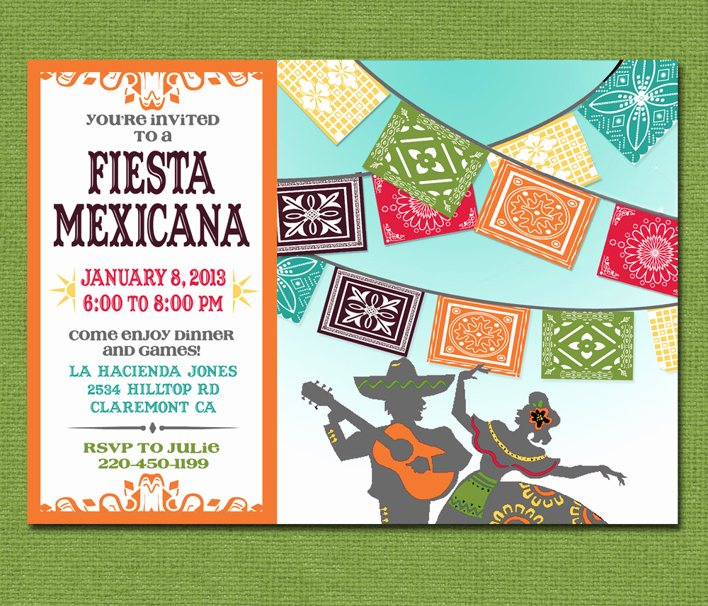 Mexican Fiesta Invitation Templates Free Elegant Print Yourself Mexican Fiesta Invitation Custom Printable