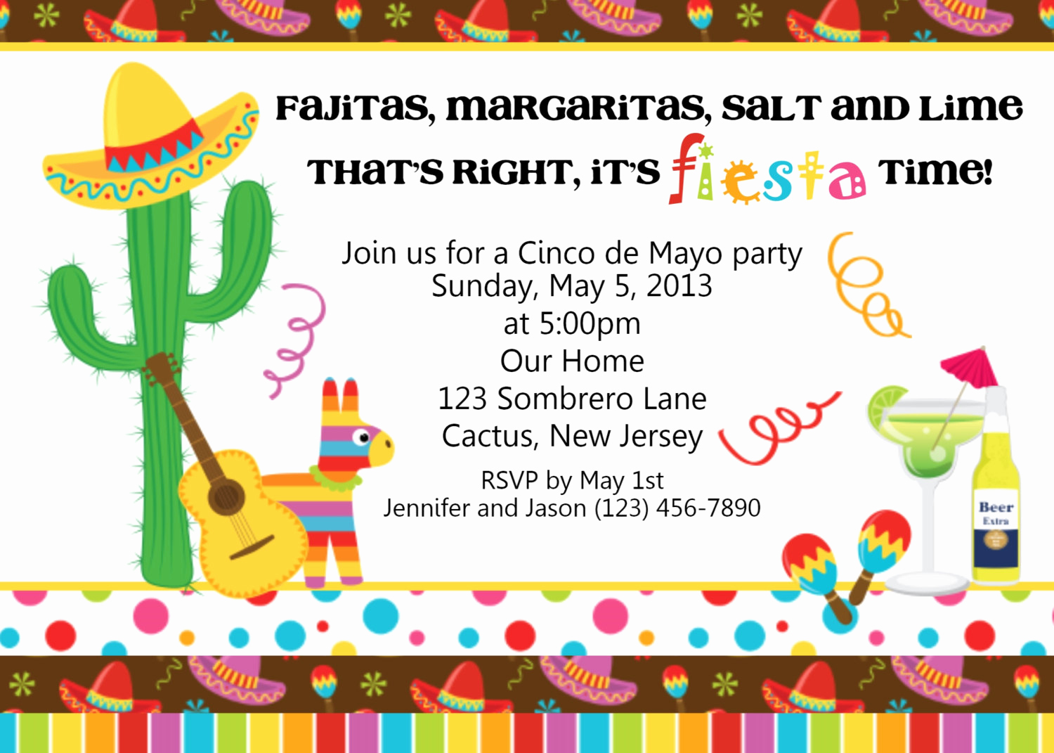 Mexican Fiesta Invitation Templates Free Fresh Fiesta Cinco De Mayo Invitation Personalized Custom
