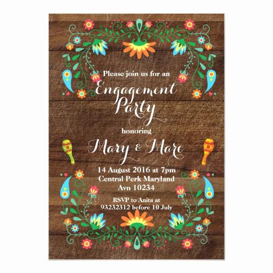 Mexican Fiesta Invitation Templates Free Unique Mexican Fiesta Engagement Party Invitation