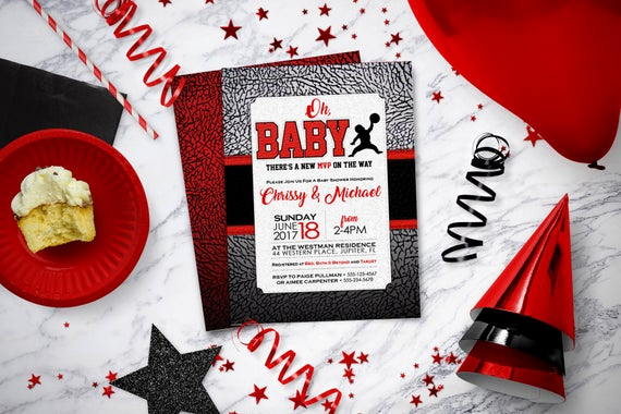 Michaels Baby Shower Invitation Beautiful Air Jordan Baby Shower Invitations Baby Jumpman Jordan