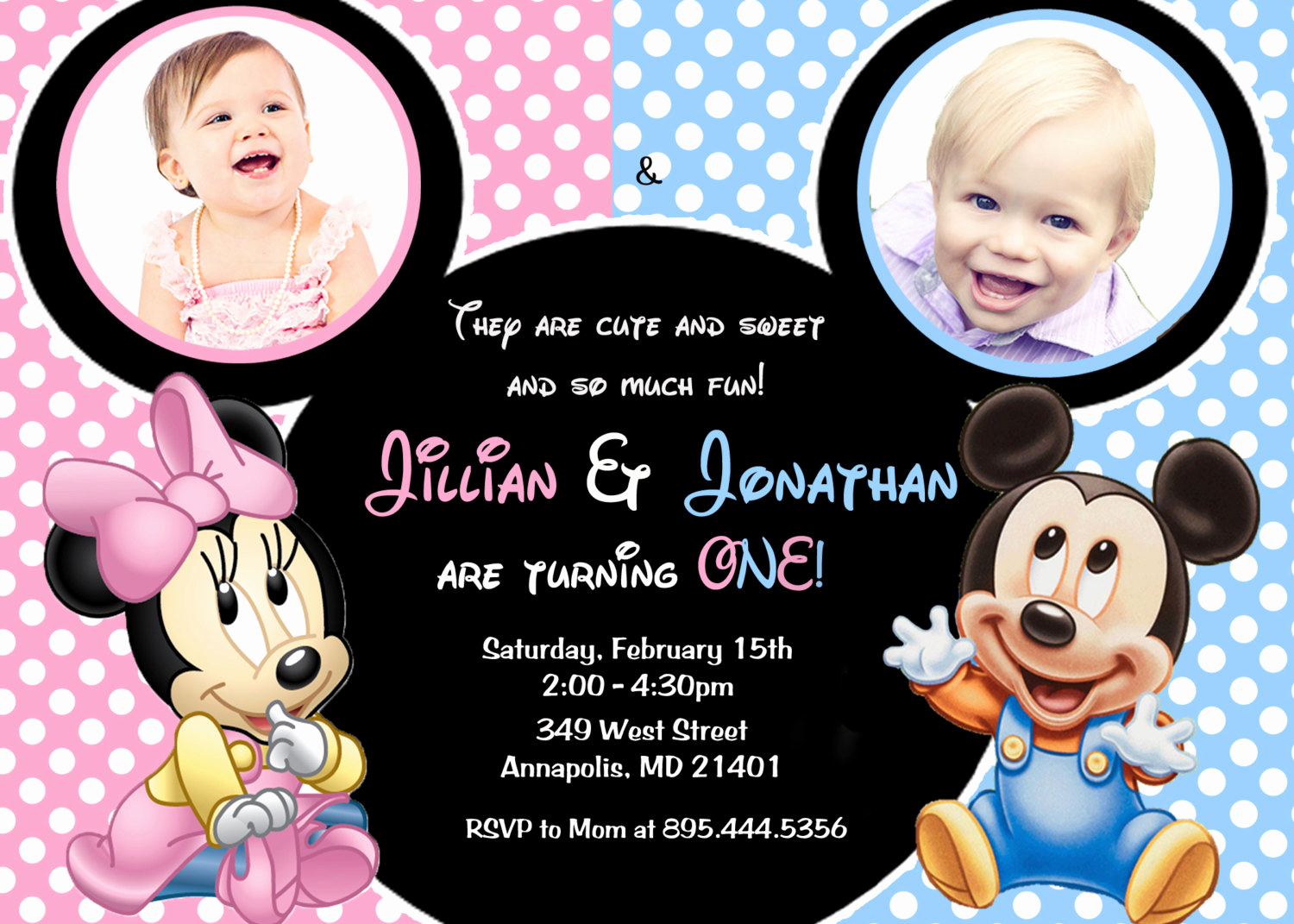 Mickey and Minnie Invitation Awesome Minnie Mouse Mickey Mouse Baby E Twins First Birthday Party