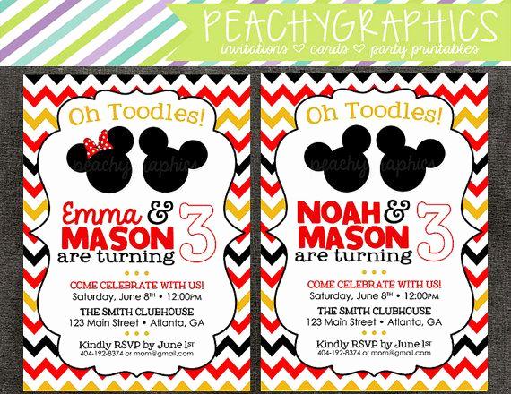 Mickey and Minnie Invitation Beautiful Mickey & Minnie Double Birthday Party Invitation