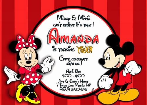 Mickey and Minnie Invitation Beautiful Mickey and Minnie Mouse Birthday Invitations – Bagvania