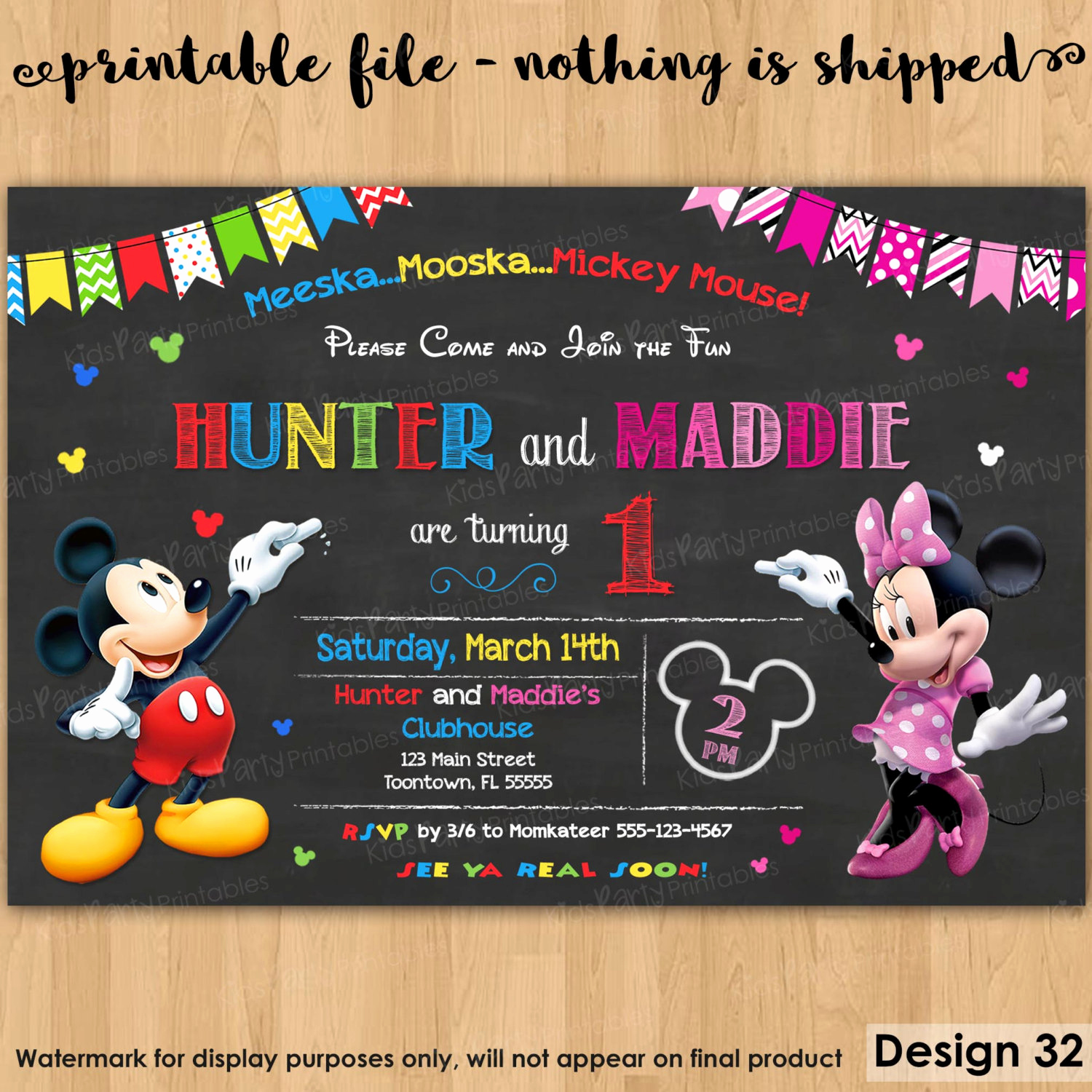 Mickey and Minnie Invitation Best Of Mickey and Minnie Invitation Printable Mickey and Minnie