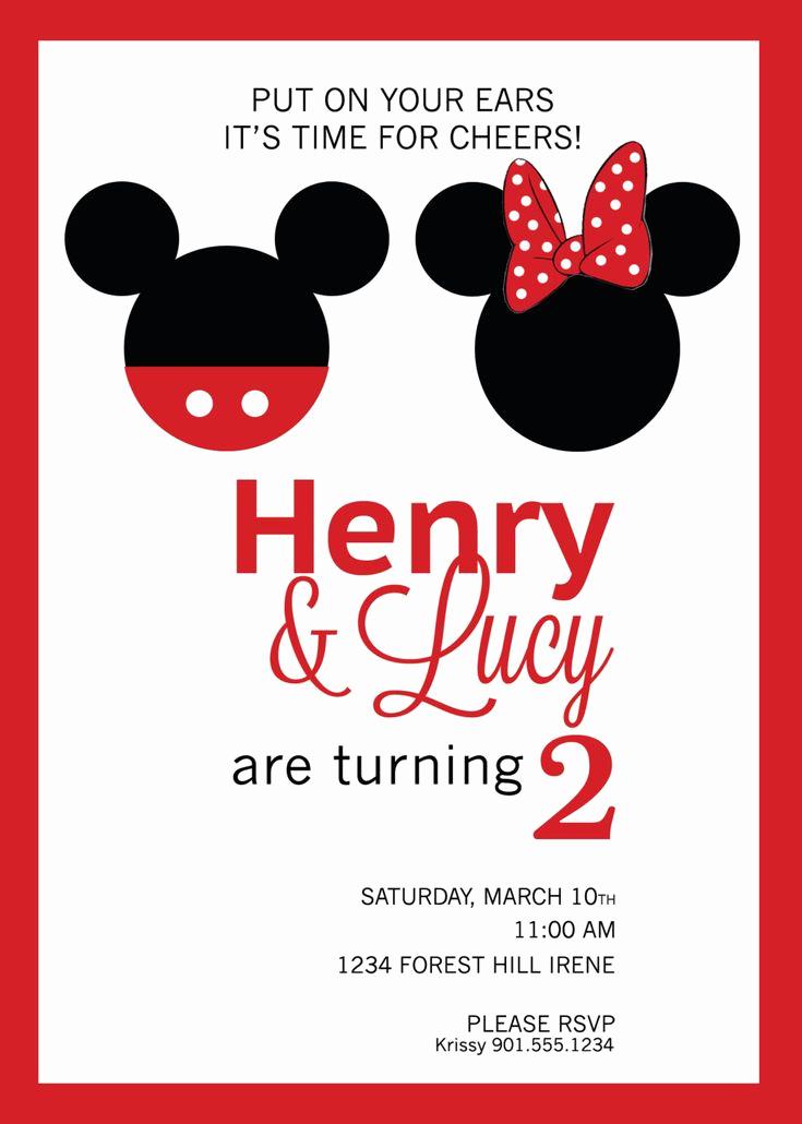 Mickey and Minnie Invitation Elegant Mickey & Minnie Mouse Birthday Invitation Custom Diy