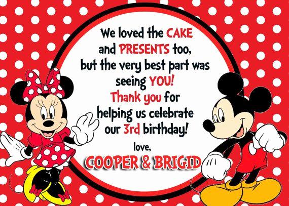 Mickey and Minnie Invitation Elegant Mickey & Minnie Mouse Thank You Card Digital File Diy