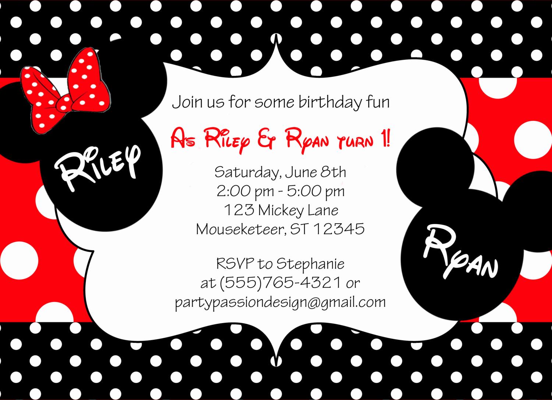 Mickey and Minnie Invitation Elegant Mickey and Minnie Twin Birthday Invitation by
