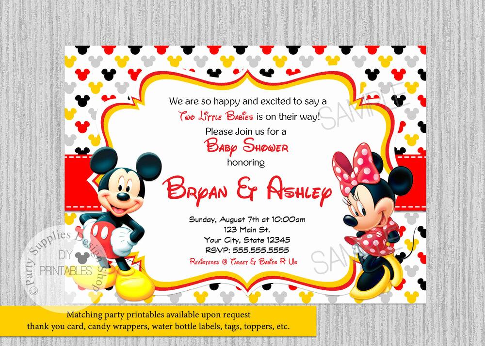 Mickey and Minnie Invitation Elegant Printed Twins Mickey Minnie Baby Shower Invitations Baby