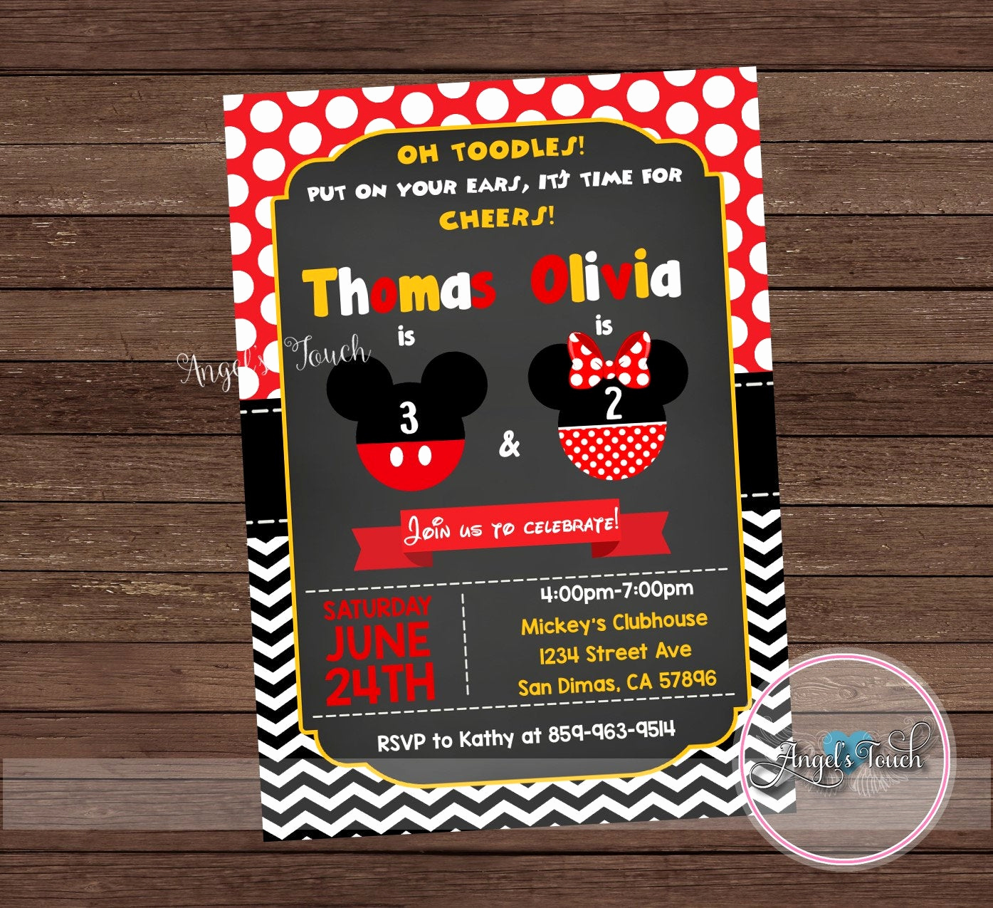 Mickey and Minnie Invitation Fresh Mickey and Minnie Mouse Bined Party Invitation Mickey