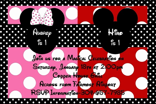 Mickey and Minnie Invitation Fresh Minnie and Mickey Mouse Birthday Invitation for Twins or