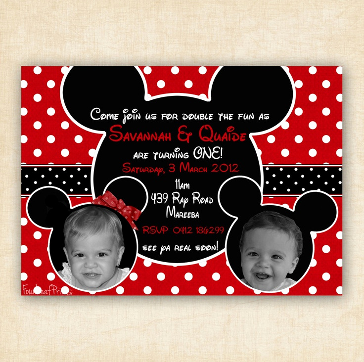 Mickey and Minnie Invitation Inspirational Mickey and Minnie Mouse Twin Birthday Party Invitation