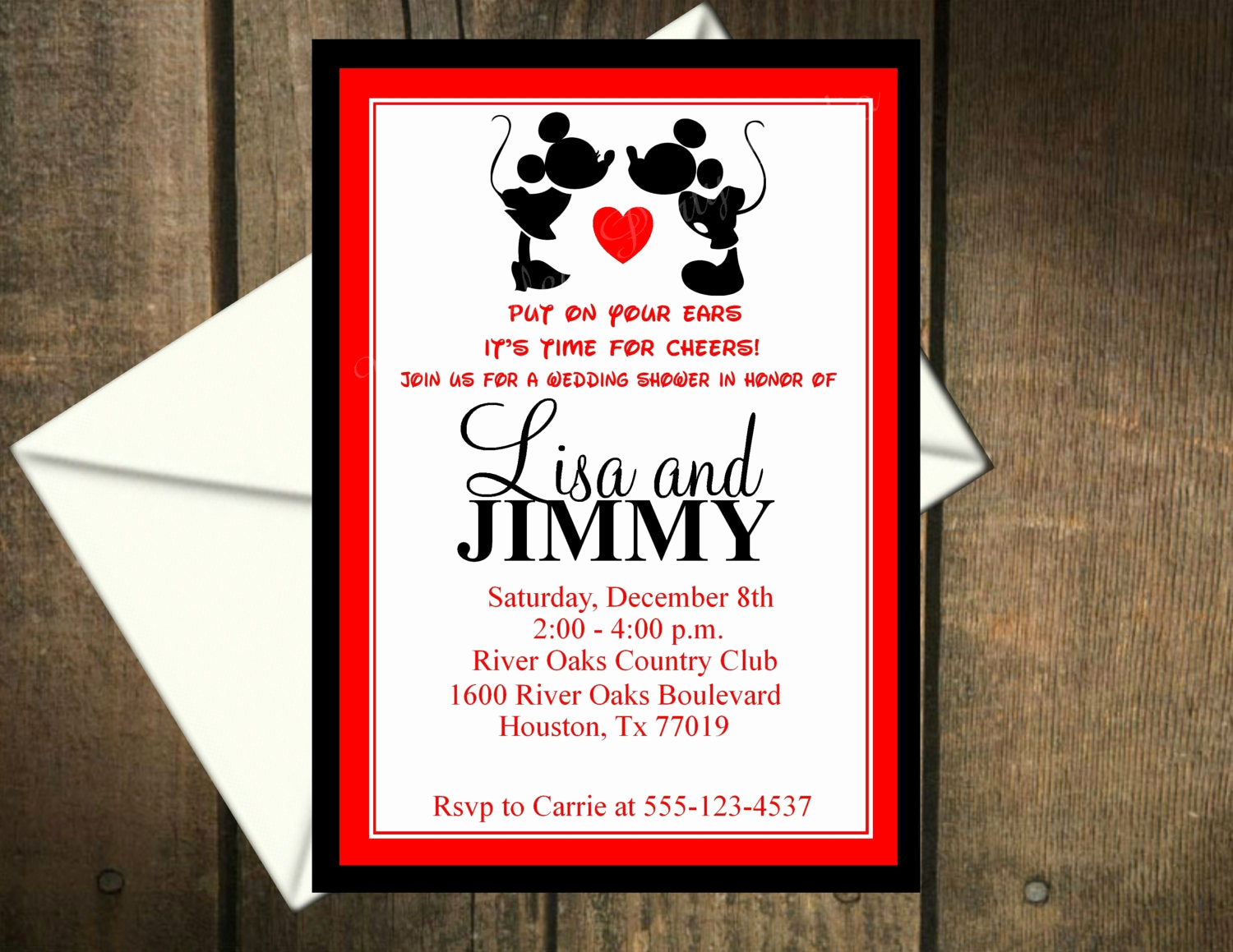 Mickey and Minnie Invitation Luxury Mickey Mouse & Minnie Mouse Wedding Shower Invitation