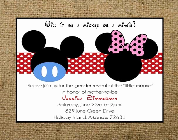 Mickey and Minnie Invitation New Printable Mickey Mouse or Minnie Mouse Gender Reveal Baby