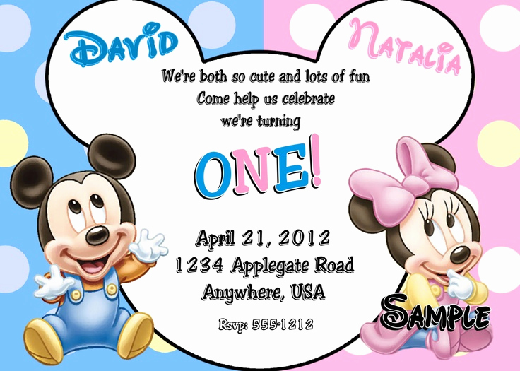 Mickey and Minnie Invitation Templates Awesome Mickey and Minnie Twin Birthday Invitations Free