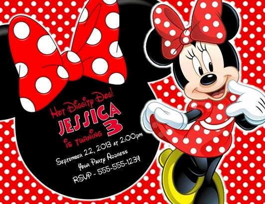 Mickey and Minnie Invitation Templates Awesome Minnie Mouse Birthday Party Invitations Invites