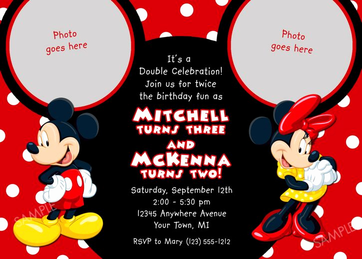Mickey and Minnie Invitation Templates Beautiful Details About Mickey Mouse Birthday Invitation Party Card