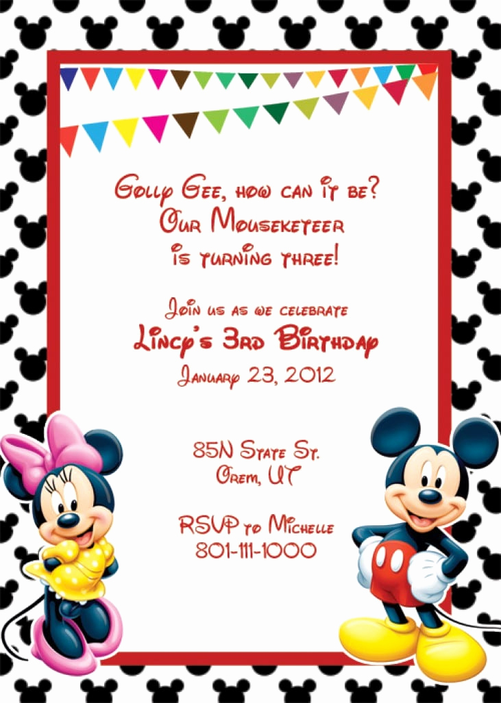 Mickey and Minnie Invitation Templates Fresh Blank Mickey Mouse Invitation Template